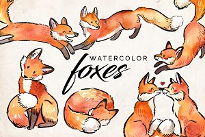 Watercolor Fox Clipart Set