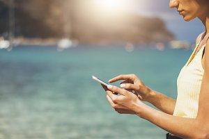 Tourists enjoy a smartphone