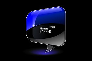 Blue Abstract Shiny Glass Banner