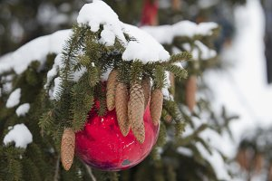 Christmas tree with ball and cones