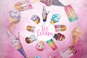 Watercolor Ice CreamClipart Set