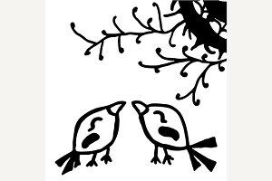 Birds doodle sketch line art vector