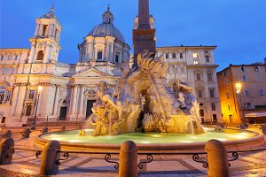 Piazza Navona Square at night, Rome, Italy.