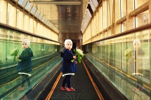Girl on travelator