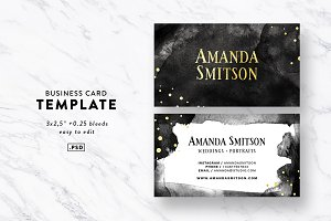 Watercolor & Gold Business Card