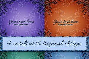 4 cards with nature design