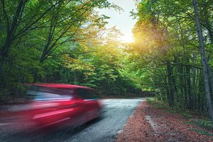 Blurred car going mountain road in summer forest at sunset