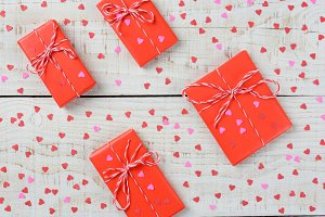 Valentines Gifts and Hearts Closeup
