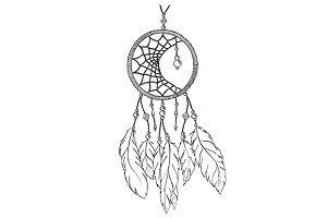 Ethnic dream catcher sketch vector