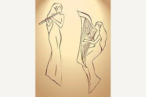 Elf minstrel musician sketch vector