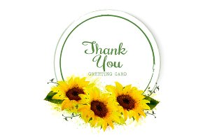 Greeting card with yellow sunflowers