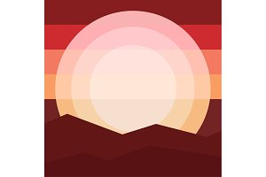 Nature landscape mountain sunset Travel, relaxation Flat design style vector illustration.