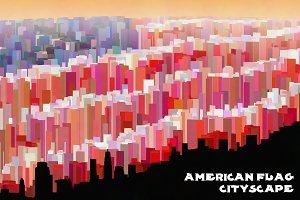 United States Flag Cityscape