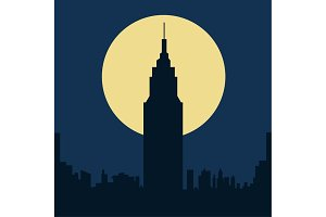 dark gloomy night city flat silhouette illustration