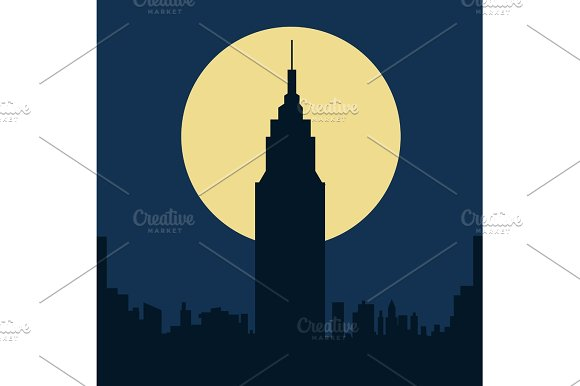 dark gloomy night city flat silhouette illustration