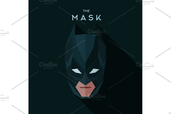Villainous mask into flat style graphical illustration of geometric abstraction