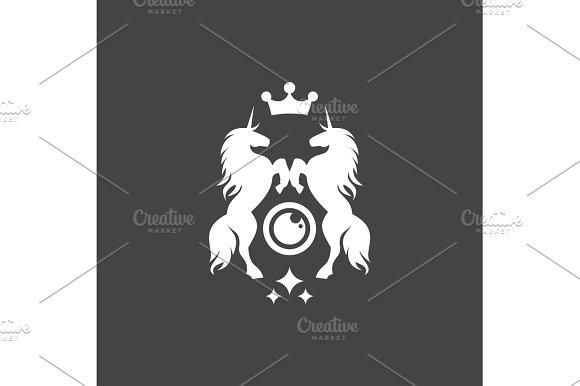 Two Unicorns illustration crown shine flat style