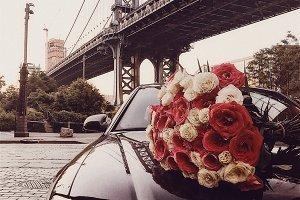 flower bouquet and limousine car