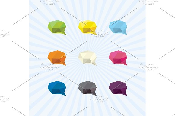 Brain power of communication in the Polygon icon colorful illustrations modern style trend