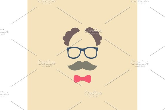 Elderly man in glasses with a mustache and bow tie trend modern vector logo illustrations