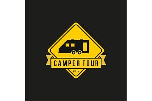 Camper yellow road sign illustration, machine house, flat style