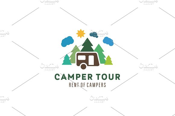 Camping in the woods clouds sun outdoor recreation camper vector illustrations flat