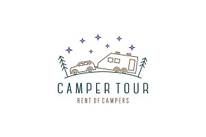 Camper tour Vehicle with trailer car house, modern linear vector illustration logo