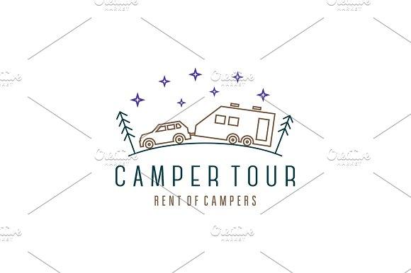 Camper tour Vehicle logo car in Illustrations