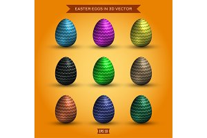 Set of easter eggs, colored high-quality illustrations modern design