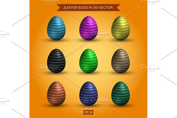 Set Of Easter Eggs Colored High-quality Illustrations Modern Design