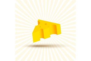 Volume of cheese illustration, realistic design beautiful yellow piece with shadow on white background