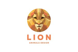 Lions Head into a Polygon design style Logos orange tones quality Modern Design illustrations, Pride leader and king of beasts