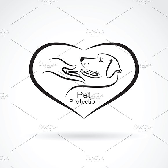 Dog And Hand In The Heart Pet