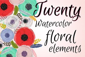 Twenty Watercolor Floral elements