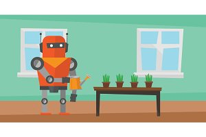 Robot housekeeper watering flowers.