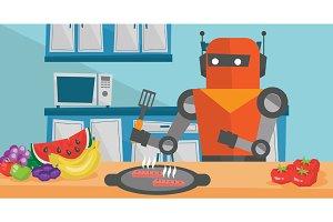Robot housewife preparing breakfast at kitchen.