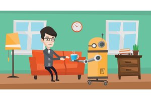 Domestic robot brings cup of coffee to his owner.