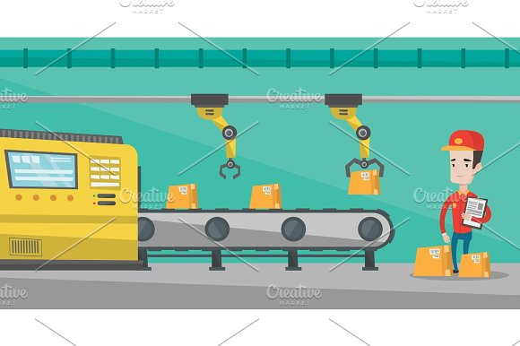 Robotic Arm Working On Production Line