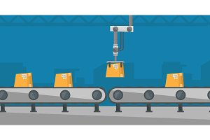 Robotic packaging conveyor belt.