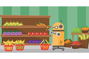 The use of robotic technologies in shopping.