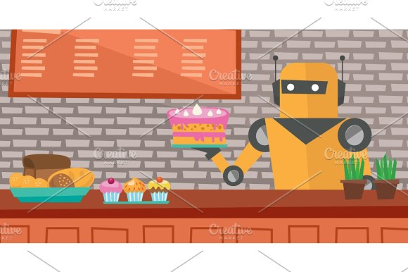 Robot Waiter Working At Pastry Shop