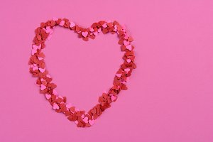 Mini Paper Hearts on Pink