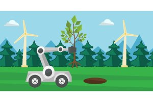 Robot machine plants a big tree.