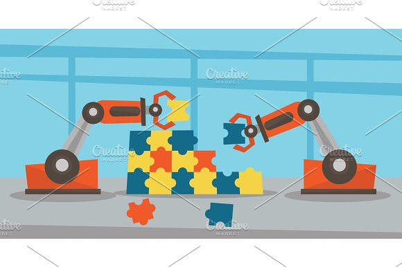 Two Robotic Arms Building A Colorful Puzzle