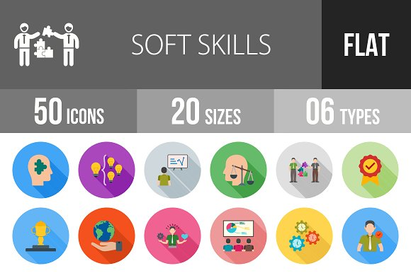 50 Soft Skills Flat Shadowed Icons