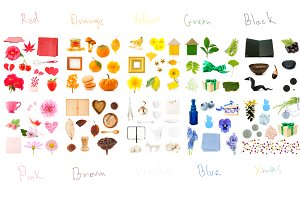 Color flatlay. Isolated objects