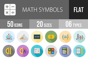 50 Math Symbols Flat Shadowed Icons