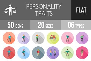50 Personality Flat Shadowed Icons