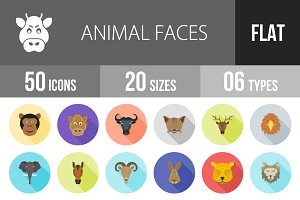 50 Animal Faces Flat Shadowed Icons