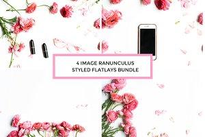 4 Image Ranunculus Styled Flatlays